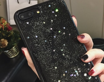 iPhone 6s / 6s+ / 7 / 7+ / 8 / 8+ / X Case, soft TPU resin, Luxury Bling, Black, Bling, glitter, sparkle, Black Star galaxy universe