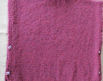knit poncho sweater, Burgundy, child, 6, hand knitted