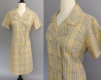 vintage 60s dress || 1960s butterscotch and slate blue plaid dress || double breasted cotton day dress || country miss || large