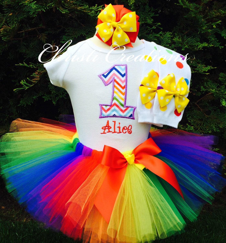 Rainbow 1st Birthday Tutu Baby Girl 1st Birthday Outfit