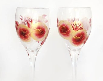 4 Hand-Painted Red and Gold Wine Glasses - 50th Anniversary, Retirement Gifts Painted Wine Glasses  Red and Gold Roses 15th Anniversary Gift