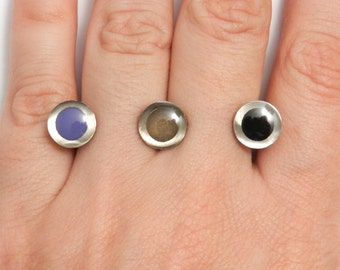On Sale Was 110.  Ellipsis Ring in Periwinkle (Limited Edition Enameled 3D-Printed Ring)