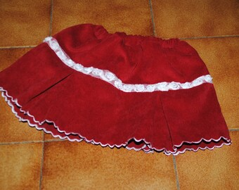 Ribbon flowers and Red corduroy skirt