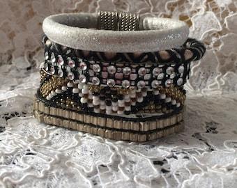 black and grey shades multi strand bracelet