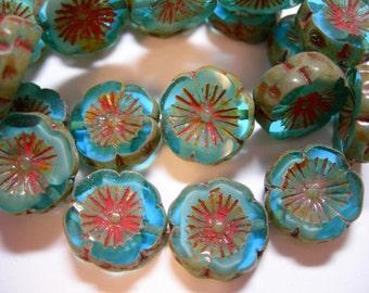 10 beads - Capri Blue Picasso Czech Glass Flower Beads 14mm