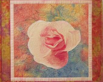 My Little Rose Original Fiber Art Wall Hanging by Lenore Crawford