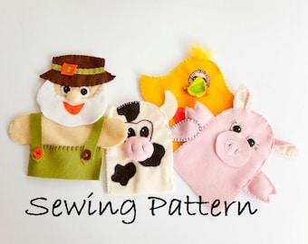 DIY Old MacDonald farm 4 puppets  -  PDF sewing pattern - Nursery rhyme Felt Farm Animals  - Old Mc Donald  had a farm - Chick,Cow,Pig DIY