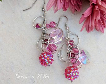 Lightweight Pink Cluster Earrings