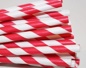Red Paper Straws, 25 Candy Apple Red Paper Straws, Red Paper Straws, Carnival Party Party, Retro Theme Party, 4th of July Party