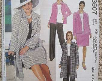 McCalls 3507 Women's Women Unlined Coat and Jacket, Top, Pants, and Skirt