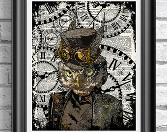 Steampunk Art Print, Steampunk Owl Art Book Page Wall Art Wall Decor Poster Owl in Top Hat and Goggles