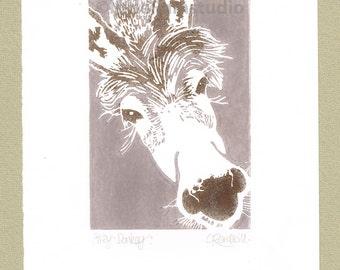 Grey Donkey - Linocut Original hand pulled Relief Print