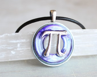 purple pi necklace, pi jewelry, pi symbol, math necklace, teacher gift, graduation gift, math teacher, science jewelry, scientist gift