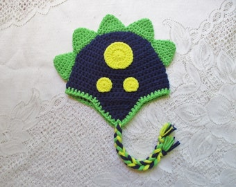 READY TO SHIP - 1 to 3 Year Size - Navy Blue, Lime and Yellow Crochet Dinosaur Hat - Winter Hat or Photo Prop