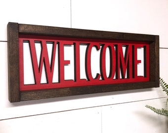 Welcome Wooden Sign, Laser Cut Welcome Sign, 3d Framed Farmhouse Style Sign