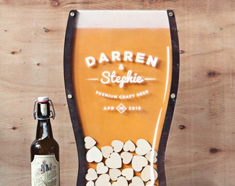 Wedding Guest Book Beer Drop Hearts Size 3 - 21st Birthday, Anniversary, company guest book