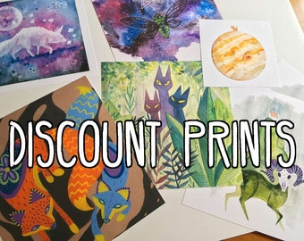 DISCOUNT PRINTS - High-quality Fine Art Prints (with tiny, negligible quirks) by Savannah Mitchell. Nursery Decor Animal Art Fox Watercolor