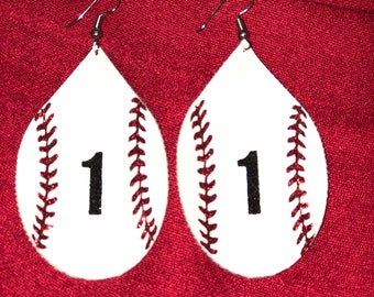 Baseball Earrings - Faux Leather, Personalized Baseball Earrings, Custom Baseball Earrings, Faux leather
