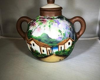Vintage-El Salvador-Pot-Scenic-Hand Painted-Hriele-Home Decor