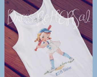 Baseball  girl little sister personalized t shirt or tank 18 24 2 3 4 5 6 7 8 9 10