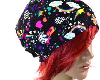 NEON UV Glow Unicorn and Rainbow Print Beanie Hat Stretchy Rave Festival Cap  -150624