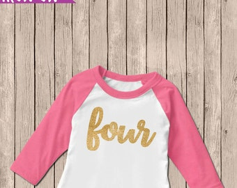 Gold Four Birthday Outfit, Iron On Decal, Fourth Birthday Iron On, 4th Birthday Outfit, DIY Iron On, Four Shirt