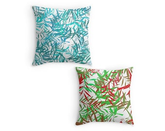 Colourful Willow Leaves, Leaf Pattern Throw Pillow, Scatter Cushion, 16x16 18x18 20x20, Home Decor, Cushion Cover