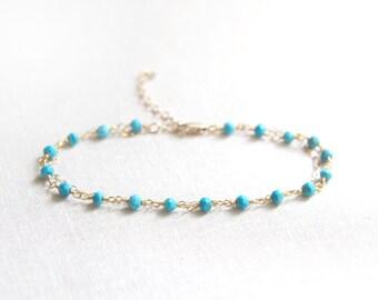 Delicate Turquoise Beaded Bracelet   Rosary Style Bracelet   Turquoise and Gold Bracelet