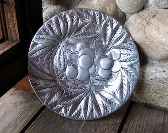 FREE SHIPPING! Vintage Dish, Plate, Botanic Motif, Trinket Tray, Vintage Metalware, Cottage Chic