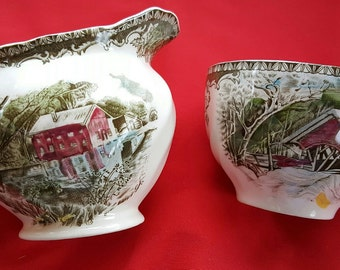 "Vintage Johnson Brothers  ""Friendly Village"" Pair of Coffee Cups and Creamer"