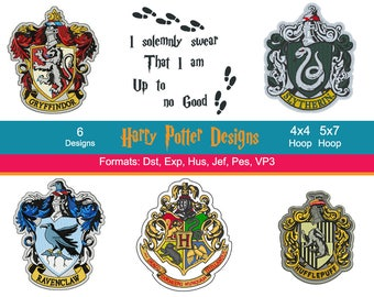 6 Harry Potter Machine Embroidery Designs, Hogwarts, Ravenclaw, Hufflepuff, Gryffindor, Slytherin, Instant Download