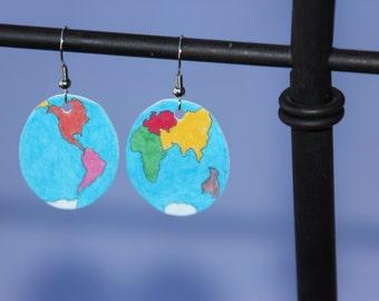Montessori World Map Earrings