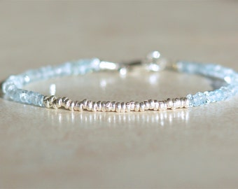 Aquamarine Bracelet, March Birthstone Bracelet, Beaded Gemstone Bracelet, Delicate Bracelet, Gift for Her, Hill Tribe Silver, Stack Bracelet