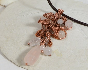 Wire Wrap Pendant Natural Rose Quartz  Wire Wrapped on Pure Copper Sculpture Wire Wirework Jewelry