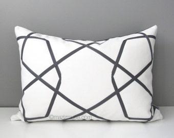 Grey & White Outdoor Pillow Cover, Modern Geometric Pillow Cover, Decorative Pillow Case, Gray Throw Pillow Cover, Sunbrella Cushion Cover