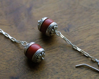 Boho Chic Red Bead and Indian Silver Dangle Earrings