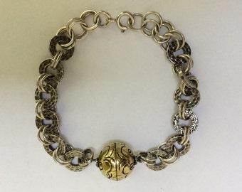 Vintage Sterling Silver Hammered Round Link Bracelet