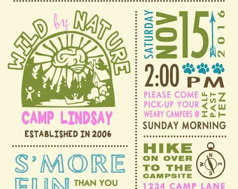 Camp out invitation - Camping invitation - slumber invitation - outdoor invitation - wilderness invitation - Camp invitation