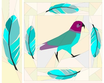 Feather Border- A Foundation Paper Pieced Quilt Block Pattern 3 x 12 Inch and 6 x 24 Inch