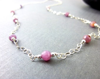 Pink Sapphire Necklace, Genuine Sapphires, Sterling Silver, Healing Energy Throat & Brow Chakra Necklace, Gifts for Her