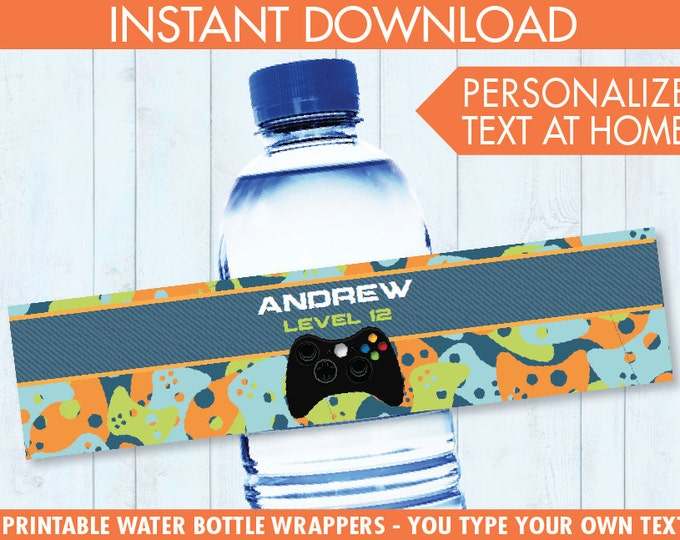 Video Game Party Water Bottle Labels or Wrappers - Video Game Drink Labels, Video Game Birthday, Blue Camo - INSTANT Download Printable PDFs