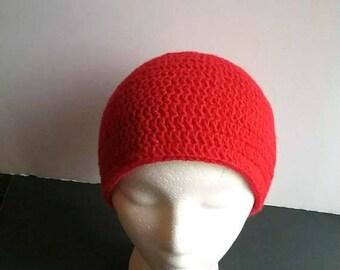 Red Crochet Beanie, Lightweight Red Hat, Red Womens Hat