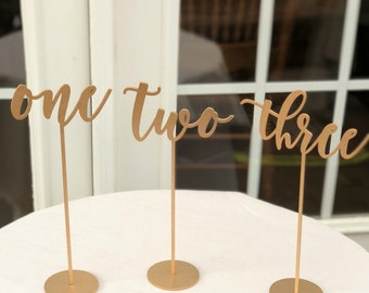 Set of 23 - Wedding Table Numbers - Set of 1-23 - Reception Laser Cut Table Numbers - Gold - Silver - DIY - Venice Line