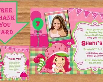 Strawberry Shortcake Invitation, Strawberry Shortcake Birthday, Strawberry Shortcake Birthday Party, Printable #Strawberry Shortcake 0002