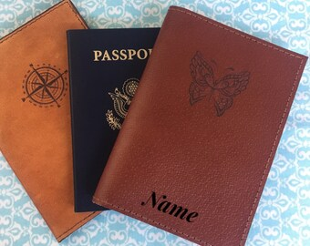 LEATHER PASSPORT COVER/personalized/passport holder