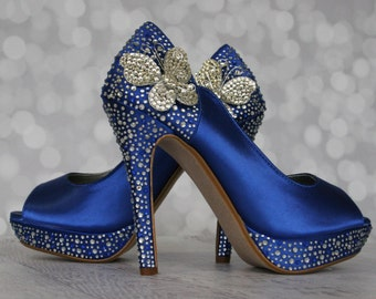 Butterfly Wedding, Blue Wedding Shoes, Something Blue, Something Blue Shoes, Butterflies, Crystal Heel Shoes, Peep Toes, Custom Wedding