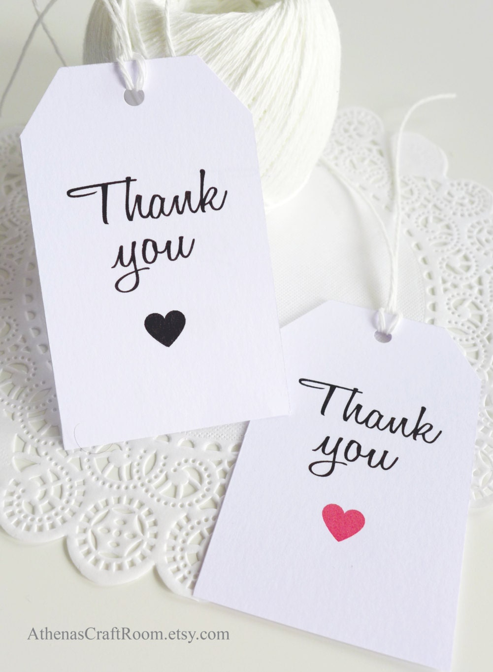 White Hang Tags, Thank You Tags, Heart Tags, Favor Tags, Gift Tags ...