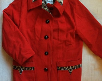 Vintage 1960s Red Leopard print Penguin wool coat faux fur lined Women's Coat Jacket made in USA