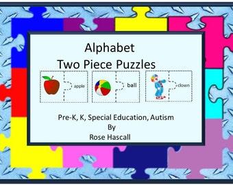Teaching Materials, Instant Printable, Alphabet Two Piece Puzzles Pre-K, K, Special Education, Autism