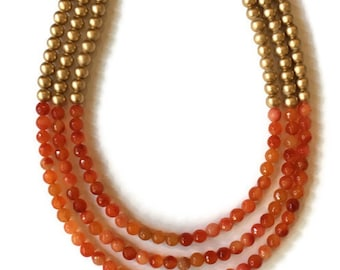 Statement Necklace - Orange and Gold Necklace - Three Strand Necklace